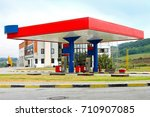 small gas station in a rural... | Shutterstock . vector #710907085