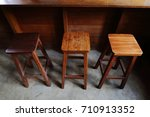 a set of wooden chair and bar... | Shutterstock . vector #710913352