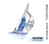 hand sketch of man on sailing... | Shutterstock .eps vector #710924068