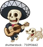 cartoon dead mariachi walking... | Shutterstock .eps vector #71093662