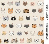 cats faces cartoon doodle... | Shutterstock .eps vector #710947156