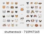 cats vs dogs faces cartoon... | Shutterstock .eps vector #710947165