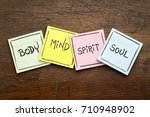 body  mind  spirit and soul  ... | Shutterstock . vector #710948902