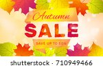 autumn sale banner with... | Shutterstock .eps vector #710949466