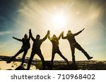 silhouette of group  team of... | Shutterstock . vector #710968402