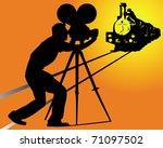 silhouette of a cameraman... | Shutterstock .eps vector #71097502