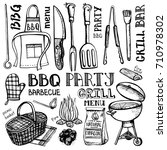 barbecue grill tools set ... | Shutterstock .eps vector #710978302
