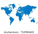 blue map of the world with... | Shutterstock .eps vector #710984602