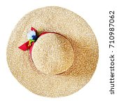 Top View Of Wide Brim Straw Hat ...
