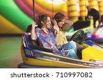two girls are having fun...   Shutterstock . vector #710997082