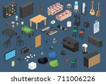 isometric furniture vector... | Shutterstock .eps vector #711006226