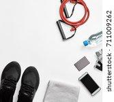 composition of sport equipment | Shutterstock . vector #711009262