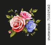 flowers. vector realistic hand... | Shutterstock .eps vector #711019162