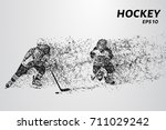 hockey player of the particles. ... | Shutterstock .eps vector #711029242