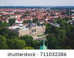 Stock photo beautiful super wide angle summer aerial view of hannover germany lower saxony seen from 711032386