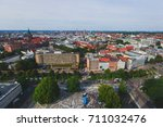Stock photo beautiful super wide angle summer aerial view of hannover germany lower saxony seen from 711032476