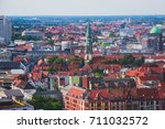 Stock photo beautiful super wide angle summer aerial view of hannover germany lower saxony seen from 711032572