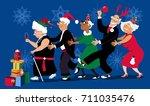 group of active seniors dancing ... | Shutterstock .eps vector #711035476