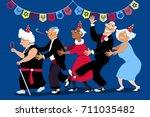 group of active seniors dancing ... | Shutterstock .eps vector #711035482