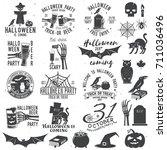 set of halloween party retro... | Shutterstock .eps vector #711036496