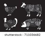 set of  butcher diagrams. cut... | Shutterstock .eps vector #711036682