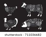 set of  butcher diagrams. cut... | Shutterstock .eps vector #711036682