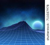 futuristic retro landscape of... | Shutterstock .eps vector #711037978