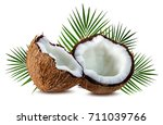 coconuts isolated on white... | Shutterstock . vector #711039766