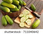 Cucumbers In A Wicker Bowl On ...