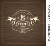 oktoberfest greeting card or... | Shutterstock .eps vector #711041902