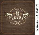 oktoberfest greeting card or... | Shutterstock .eps vector #711041902