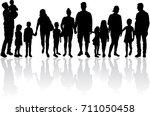 vector silhouette of family.   Shutterstock .eps vector #711050458