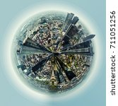 Small photo of Little planet 360 degree sphere. Panoramic view of Frankfurt am Main city, Germany