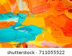 hand drawn oil painting.... | Shutterstock . vector #711055522