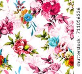 seamless floral background... | Shutterstock .eps vector #711056326