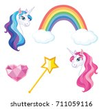 magical items set. vector... | Shutterstock .eps vector #711059116