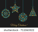 christmas tree decoration. xmas ... | Shutterstock .eps vector #711063322