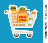 supermarket shopping trolley... | Shutterstock .eps vector #711072886