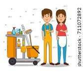 cleaning service staff | Shutterstock .eps vector #711072892
