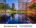 dallas  texas  usa downtown... | Shutterstock . vector #711100342