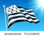 breton flag on wind with... | Shutterstock .eps vector #711110692