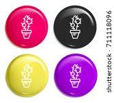 cactus multi color glossy badge ...
