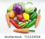 vegetables isolated on white... | Shutterstock . vector #711123526
