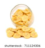 dried banana slices isolated on ... | Shutterstock . vector #711124306