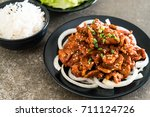 fried pork with spicy korean... | Shutterstock . vector #711124726