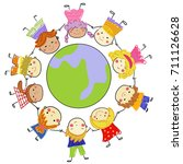 kids and globe | Shutterstock .eps vector #711126628