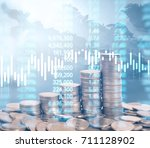 graph coins stock finance and... | Shutterstock . vector #711128902