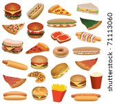 big fast food set | Shutterstock .eps vector #71113060