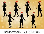 silhouette of woman talk on... | Shutterstock . vector #711133108