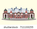 tokyo station in winter on the... | Shutterstock . vector #711133255